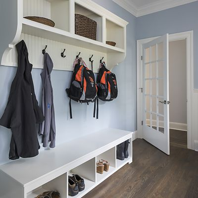 Mud Room, designed by Lisa Zompa, custom built by National Millwork