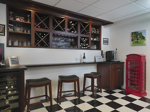 Pawtucket, Rhode Island bar and wine storage area designed by Lisa Zompa