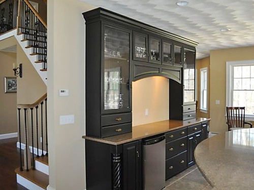 Black Hutch in Rhode Island kitchen designed by Lisa Zompa