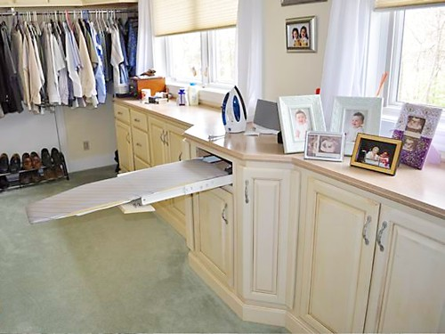 Pull-Out Ironing Board in Rhode Island Dressing Room Closet - designed by Lisa Zompa