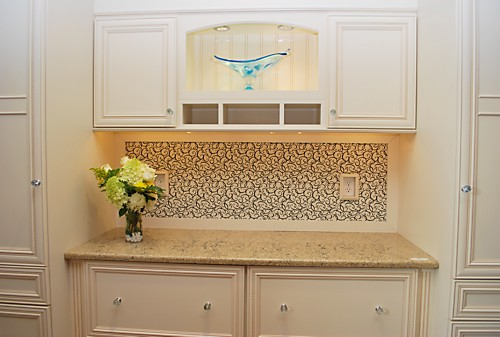 Back counter in Dynasty by Omega work area and storage designed by Lisa Zompa